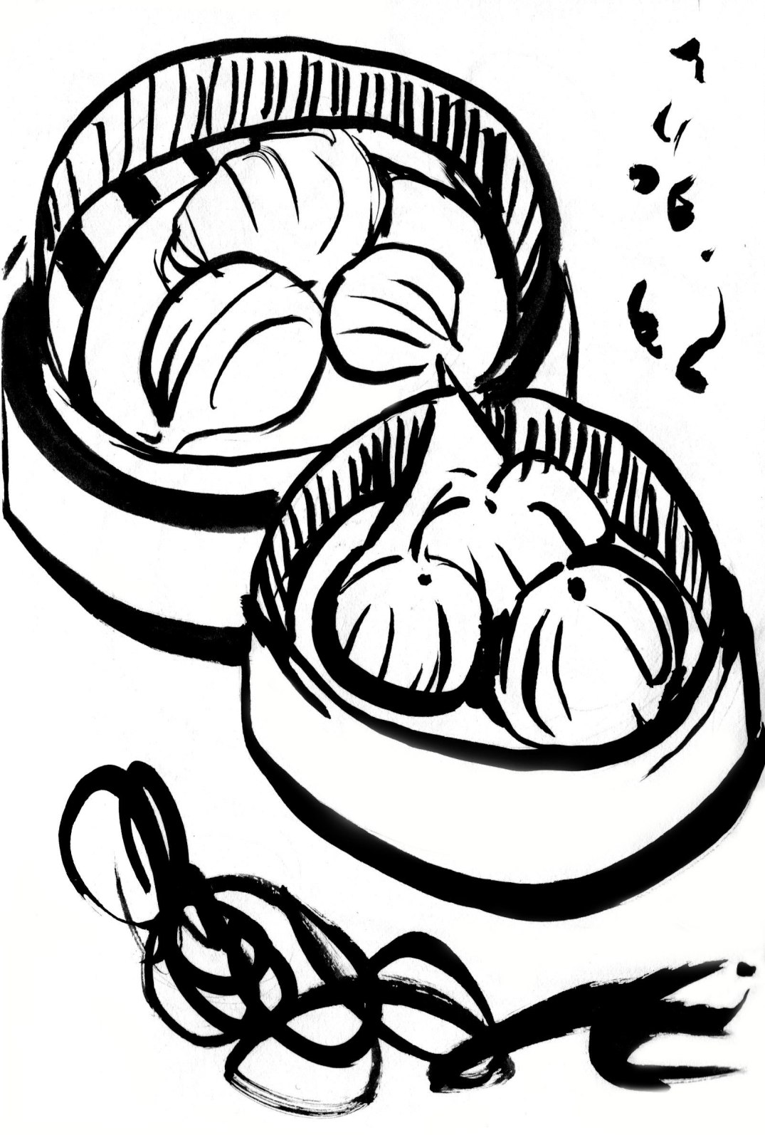 Chinese Dumpling Drawing Dim Sum Ink Drawing 2015
